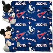 NCAA Connecticut Huskies Dis-Col Hugger W/ 40X50 Fleece Throw Blanket, One Size, Blue (Huskies Pillow Connecticut)