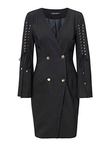 Simplee Womens Elegant Double Breasted Split Lace up Blazer Mini Dress
