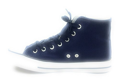 Summer Fashion Women's Classic Sneakers Top High Lace Flat DEV Canvas Casual up Special Navy xqgvFnRW