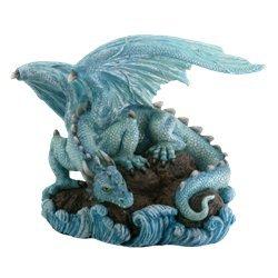 Blue Water Dragon on Rock Fantasy Figure Decoration - Dragon Figure Figurine Statue