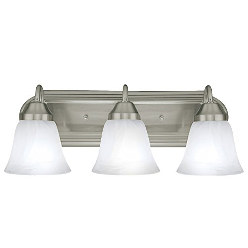 Vanity Light Bar Brushed Nickel : Three Globe Bathroom Vanity Light Bar Bath Fixture, Brushed Nickel with Alabaster Glass ...