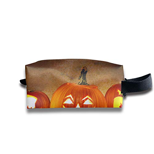 Jack O Lantern Carving Pumpkin Halloween Scary Ghost Multi-Function Key Purse Coin Cash Pencil Travel Makeup Toiletry Bag Box Case -