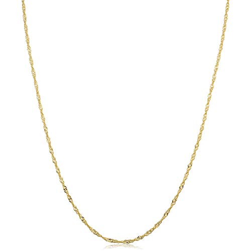 Kooljewelry 14k Yellow Gold Singapore Chain Necklace (1.4 mm, 24 inch)