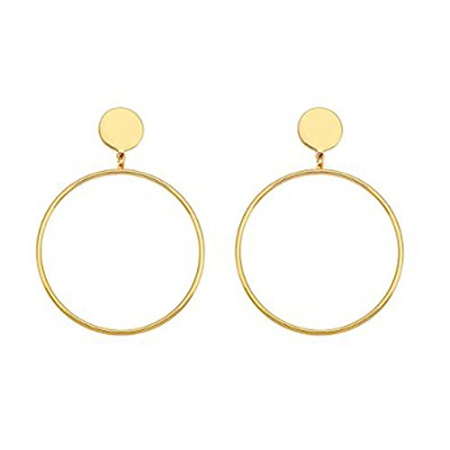 Cyntan Hoop Dangling Earrings Simple Large Hoops Circle Drop Earrings For Women Gold (Circle Hoop Dangle)
