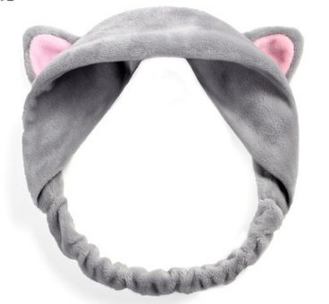 GEOOT Makeup Cat's Ear Hair Band (Gray)