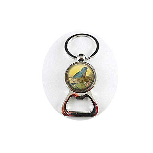 (yijun Emily Dickinson Quote - Hope is The Thing with Feathers - Dickinson Quote - Poetry Jewelry - Poem Bottle)