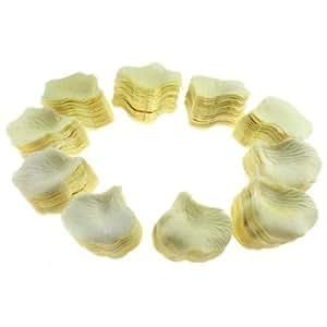 1000 Petalos de Rosa en Seda de Corazon para Bodas blanco(1000 Pale Yellow Heart Petals)