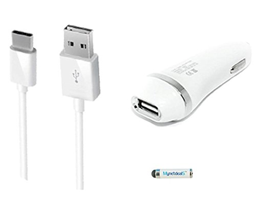 Price comparison product image 2-in-1 Type-C USB Chargers Bundle for ZTE Zmax Pro, Huawei Honor 8, Honor Note 8,Xiaomi Redmi Pro, BLU Energy XL (White) - 2.1Ah Car Charger Adapter + USB Charging Cable + MND Mini Stylus