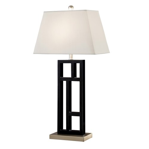 Artiva USA Perry, Contemporary Design, 31-Inch Black Brushed Steel Finish, Geometric-Sculptured Metal Table Lamp with Empire Shade