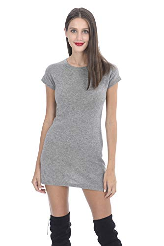 State Cashmere Women's Cap Sleeves Knitted Tunic 100% Pure Cashmere Short Sweater Dress (X-Large, Heather Grey)