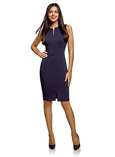 oodji Ultra Mujer Vestido Ajustado con Cremallera Oculta, Azul, ES 36 / XS