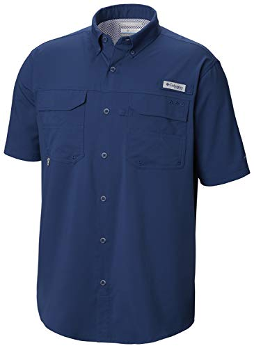 Columbia Men's PFG Blood and Guts III Short Sleeve Woven Shirt , Carbon, Large