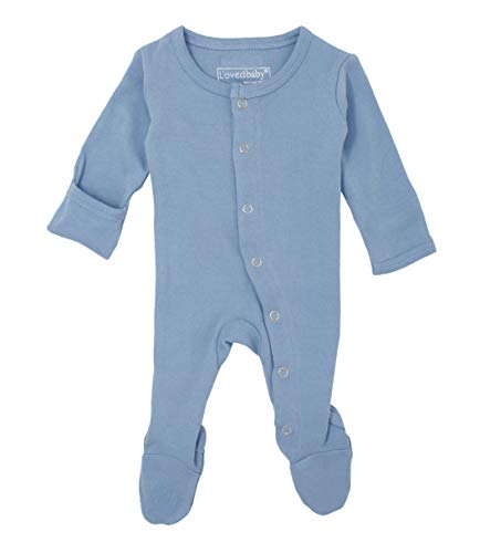 L'ovedbaby Unisex-Baby Organic Cotton Footed Overall (NB/Preemie (4-7 lbs.), River) ()