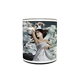 Color Changing Heat Sensitive Coffee Mug with Dance with Seagulls Design