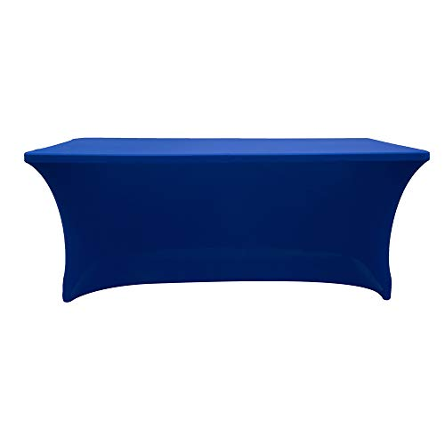 (Rectangular Assembly Stretch Tablecloth Long bar Tablecloth Hotel Event Party Wedding Decoration Blue 153x74x76cm)