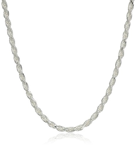 Amazon Essentials Sterling Silver Diamond Cut Rope Chain Necklace, 30