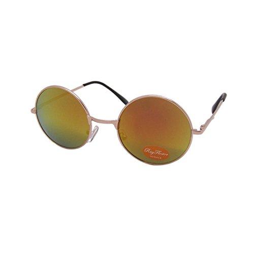 Sonnenbrille Unisex Rund Hippie Brille John Lennon getönt 400UV langer Steg orange 4y9cIRE1