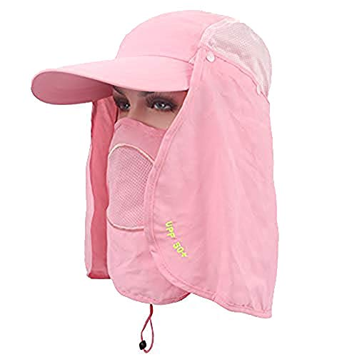 Outdoor Sun Cap for Men Women,Breathable Sun Hat UV Protection Fishing Hiking Caps with Face Neck Flat UPF 58+ Yamally Pink