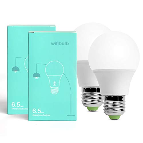 Smart Led Bulb, Warm White 65W Equivalent Dimmable Smart Led Light Bulb can Work with Alexa/Amazon Echo and Google Home.No Hub Required, CE/FCC/UL Listed (2-Pack-6.5W) … by GeekDigg (Image #1)
