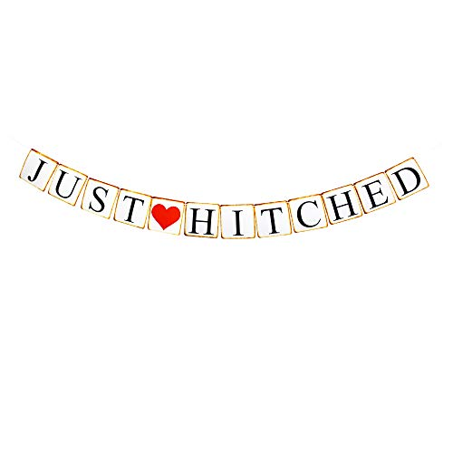 Just Hitched Banner, Bacherolette/Engagement/Bridal Shower Party Sign Paper Garland ()