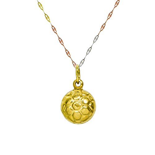 14K Yellow Gold Soccer Ball Pendant Necklace (18 Inches, Tri Color Fancy Italian Chain) 14k Yellow Gold Soccer Ball
