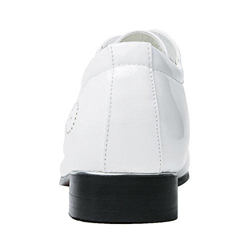 Zapatos De Vestir Para Hombres Con Punta Estrecha Charol Clásico Con Cordones Oxford Santimon Azul Rojo Blanco Blanco