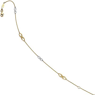 Black Bow Jewelry 14k Two Tone Gold Polished Infinity Station Anklet, 9-10 Inch big discount