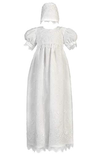 Lito Childrens Wear 2562 White Embroidered Organza Christening Gown (White, X- Small)