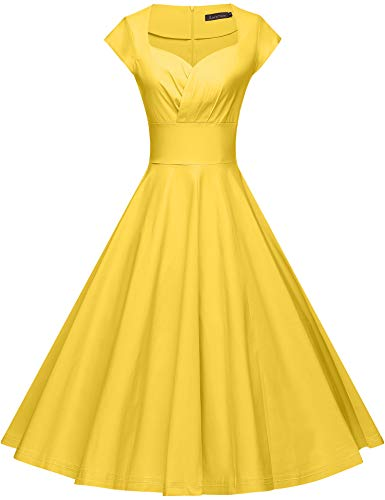 GownTown Womens Dresses Party Dresses 1950s Vintage Dresses Swing Stretchy Dresses, Yellow, Small