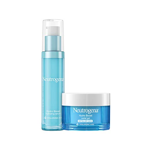 Neutrogena Hydro Boost Hyaluronic Acid Face Serum, 1 oz & Hydro Boost Water Gel Facial Moisturizer with Hydrating Hyaluronic Acid for Extra Dry Skin, 1.7 oz