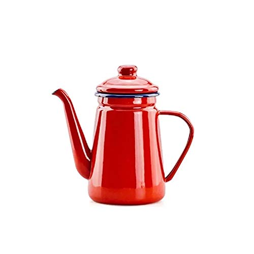 (Camping Outdoors Coffee Pot 1.1L, SHUEHO Hand Drip Enamel Tea Coffee Pot Kettle Boiler Oil & Vinegar Cruet (Red 1.1L))