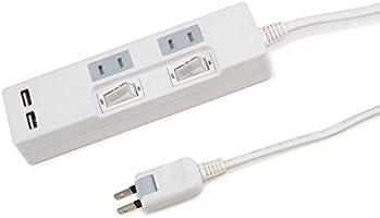 スタイルド USB充電ポート付き 電源タップ USB2口(合計2.4A出力・自動識別IC搭載)