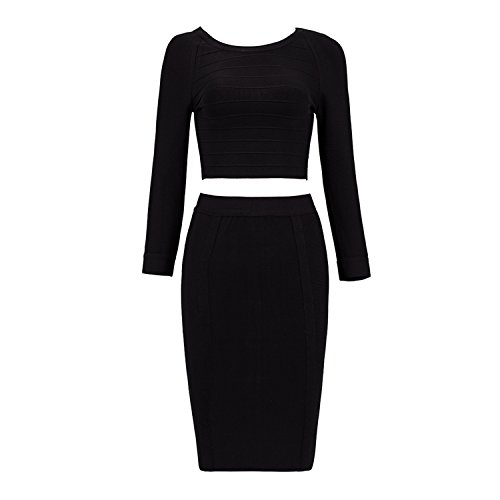 New Fashion Back Zipper Celebrity Bandage Women 2 Pieces Full Sleeves O Neck Top Knee Length Bodycon Skirts BM1202 Black -