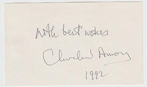 (Cleveland Amory Signed Index Card Author & Animal Rights Activist D 1998 - JSA Certified - NBA Cut)