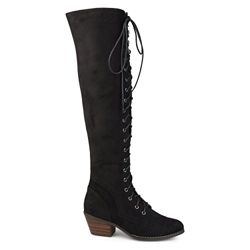 9125e8d877c Brinley Co. Womens Blitz Faux Suede Regular Wide Calf Over-The-Knee Lace-up  Brogue Boots Black