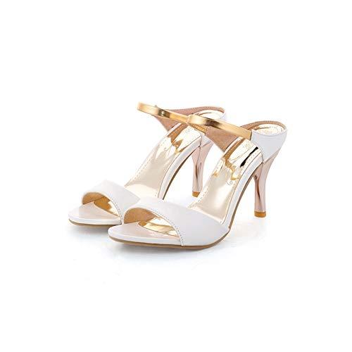 Girllike Women's Fashion Slide Sandals Stiletto High Heel Peep Toe Summer Shoes (7.5 B(M) US Women/CN 38, White)