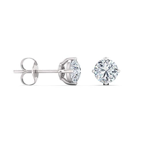 Diamondere Natural and Certified Round White Topaz Solitaire Earrings in 14K White Gold  0.61 Carat Earrings for Women