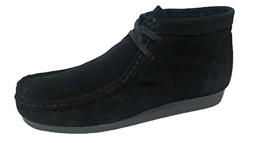 Nairobi gold Wallabee Genuine Leather Mens Lace Up Boots Moccasin Toe Chukka Lace Up (10, BLK/BLK) ()