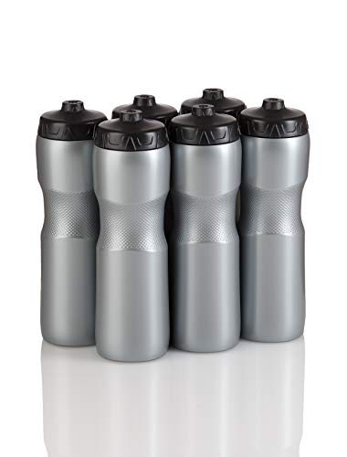 Jet Stream Sports Squeeze Water Bottle with One-Way Valve - Team Pack Set of 6 Bottles - BPA Free Durable Plastic Holds 28 oz. - Made in USA - Silver/Black