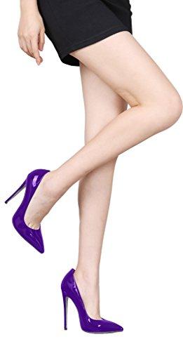 Guoar Donna Tacco A Spillo Plus Size Scarpe Solide Scarpe A Punta Vernice Pompe Per Il Vestito Da Cerimonia Nuziale Bordeaux Brevetto