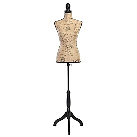 Giantex Female Mannequin Torso Dress Form Display W/ Black Tripod Stand (Brown) - Wood Tripod Stand