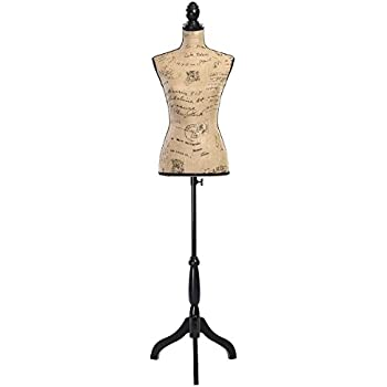 Body Display 6, Beige Clothing PDM Worldwide Female Mannequin Torso Pinnable Dress Form with Wooden Tripod Stand Adjustable Height 61-78 for Sewing Dress