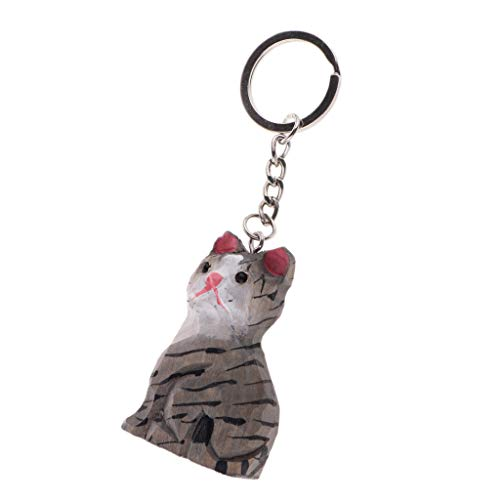 Baosity Creative Painted Hand Carved 3D Animal Figurines Wooden Key Chain Rings Keychain Gifts for Car Key Ring Handbag Tote Bag Pendant Charms - Grey ()