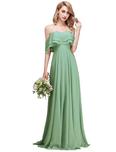 (CLOTHKNOW Strapless Chiffon Bridesmaid Dresses Long Sage with Shoulder Ruffles for Women Girls to Wedding Party Gowns)