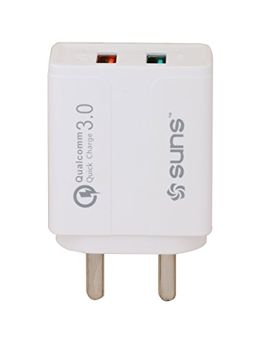 Dual Port Charger   Sun's Universal BIS Certified  Qualcomm 3.0  Speed Charger  3 Ampere  Compatible for All Mobiles