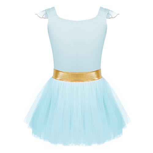 iEFiEL Girls Sequin Chiffon Ballet Dance Dress Gymnastic Leotard Ballerina Fairy Costume Light Cyan Gold Waist 4