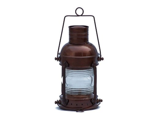 "Hampton Nautical  Antique Copper Anchormaster Oil Lantern, 15"", Copper"