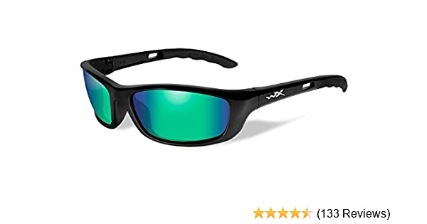 Polarized Emerald Mirror Wiley X P-17 Sunglasses Gloss Black