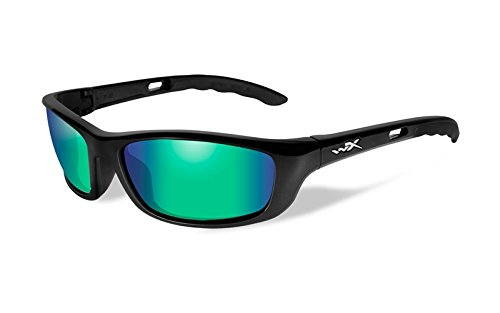Wiley X P-17 Sunglasses, Polarized Emerald Mirror, Gloss - Sunglasses P