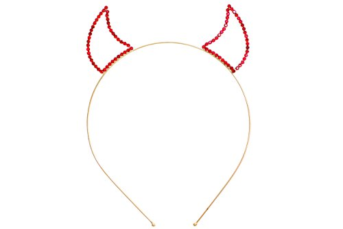 Rosemarie Collections Women's Rhinestone Devil Horns Headband (Gold Tone Red) (Cat Woman Costume Ideas)